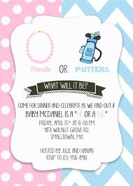 gender reveal party pearls or putters gender reveal invitation