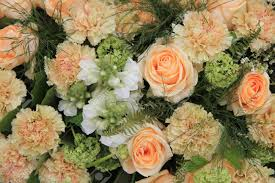 carnations and roses in a pale orange shade floral composition