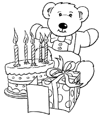 bear happy birthday coloring kids coloring pages