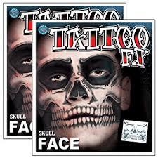amazon com day of the dead skeleton skull full face temporary