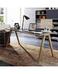 plateau bois bureau bureau gris avec plateau 160 x 80cm et pieds bois massif so