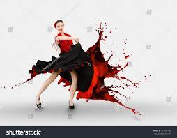 flamenco dancer dress turning paint splashing stock photo