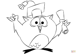cartoon owl graduating coloring page free printable coloring pages