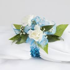 turquoise corsage glam mini carnation wrist corsage martin s specialty store order
