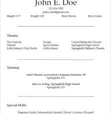 Theatrical Resume Sample by Pleasurable Inspiration Theatre Resume Template 5 10 Acting