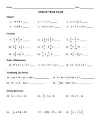 end of year middle math exam integers fractions order of