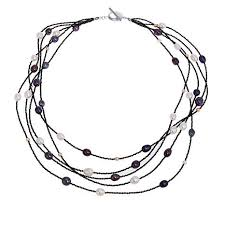 multi strand necklace images Colleen lopez black spinel and cultured pearl multi strand jpg