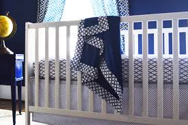 navy trellis crib sheet oliver b