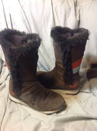 s boots with fur nike winter faux fur lined brown s boots suede 311959