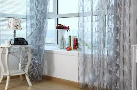 Light Grey Sheer Curtains Tulle Sheer Curtains For Living Room Light Grey Leaves Window