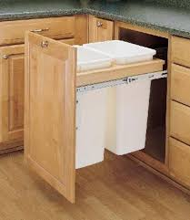 trash can attached to cabinet door wood pull out trash cans