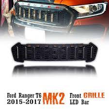 front grill ford ranger led bar front black grille grill ford ranger t6 mk2 px2 xlt 15 16