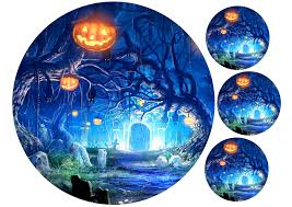 Halloween Cake Toppers Uk by Halloween Cake Topper Halloween Pumpkins In The Graveyard Edibl