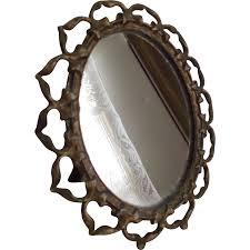 old mirror metal ribbon framed oval vintage vanity dresser table