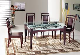 Glass Wood Dining Room Table Furniture Top Notch Dining Table With Beveled Edge Tempered