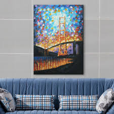 hand painted wall art palette knife jinmen steel cable bridge