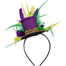 mardi gras headbands mini mardi gras glitter top hat headband w feathers 26609mgaj