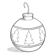 tree ornaments clipart black and white
