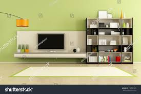 green living room tv stand bookcase stock illustration 119747323