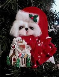 ooak maltese hanging ornament 1 with vintage tree ctd