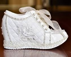 wedding shoes high wedding shoes white or light ivory wedge sneakers bridal shoes