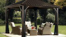 costco pergola yardistry solowave cedar with metal roof 29850