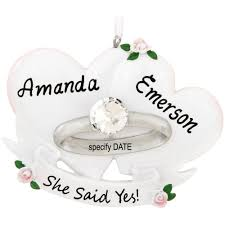personalized she said yes engagement ring ornament penned