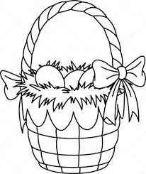 easter basket with eggs coloring page easter basket coloring page u2014 stock vector dazdraperma 2254608