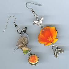 poppy earrings state bird flower earrings california poppy quail designs by