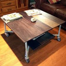 Rolling Coffee Table Aged Metal And Oak Board Rolling Coffee Table Simplified Building
