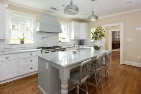 Beadboard Kitchen Island - gray beadboard island with quartzite countertops transitional