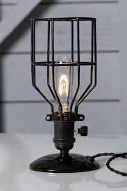 wire light bulb cage industrial desk l black wire cage table light industrial