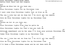 country music blue christmas lights buck owens lyrics and chords