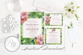 Editable Wedding Invitation Cards Tropical Island Wedding Invitation Information Card Reply Card