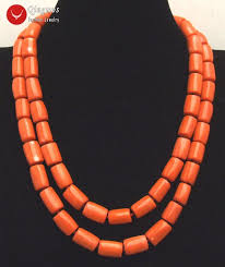 coral necklace images Qingmos 2 strands thick slice natural orange coral necklace for jpg