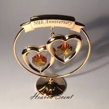 20th wedding anniversary gift ideas 50th golden wedding anniversary gift ideas gold plated swarovski