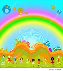 rainbow cars illustration of kids and rainbow