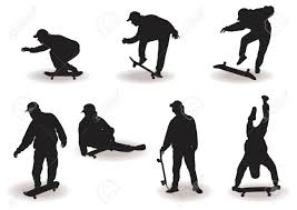 Skateboard Boy Silhouettes With Different Poses Over White