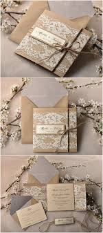 rustic wedding invitation kits pocket fold rustic recycling paper lace wedding invites kits