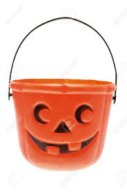 halloween pumpkin basket on white background stock photo picture