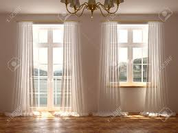 Balcony Door Curtains Empty Room With A Wonderful View From The Windows And Balcony