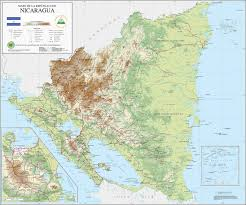 Topographical Map Of South America by Large Detailed Topographical Map Of Nicaragua Nicaragua Large
