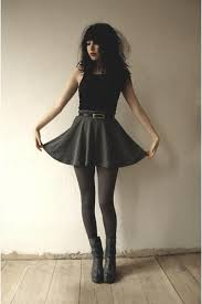 gray boots gray tights gray skirt black lace top top style