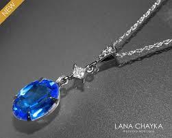 blue crystal necklace swarovski images Sapphire royal blue oval crystal necklace swarovski sapphire jpg