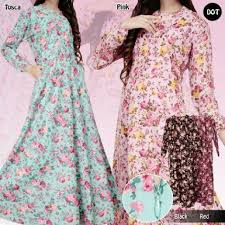 desain baju jepang model baju gamis bahan kain katun jepang motif bunga terbaru butik
