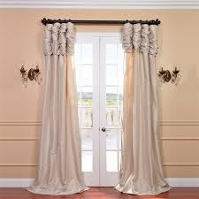 White Silk Curtains Mcree Ruched Faux Silk Taffeta Thermal Rod Pocket Single Curtain