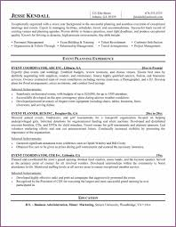 Conference Coordinator Resume Event Planner Resume Designproposalexample Com