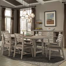 corliss landing wood rectangular trestle dining table in weathered