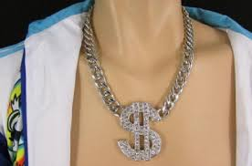 big gold fashion necklace images Men silver gold metal chains fashion necklace big dollar sign jpg