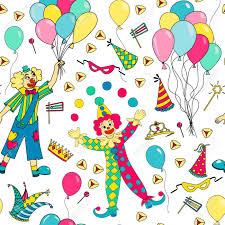 clowns balloons purim seamless pattern colorful background with